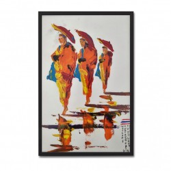 EXCLUSIEF - Schilderij - Umbrella Monks Reflect Handpainted Art - 20 x 30 cm